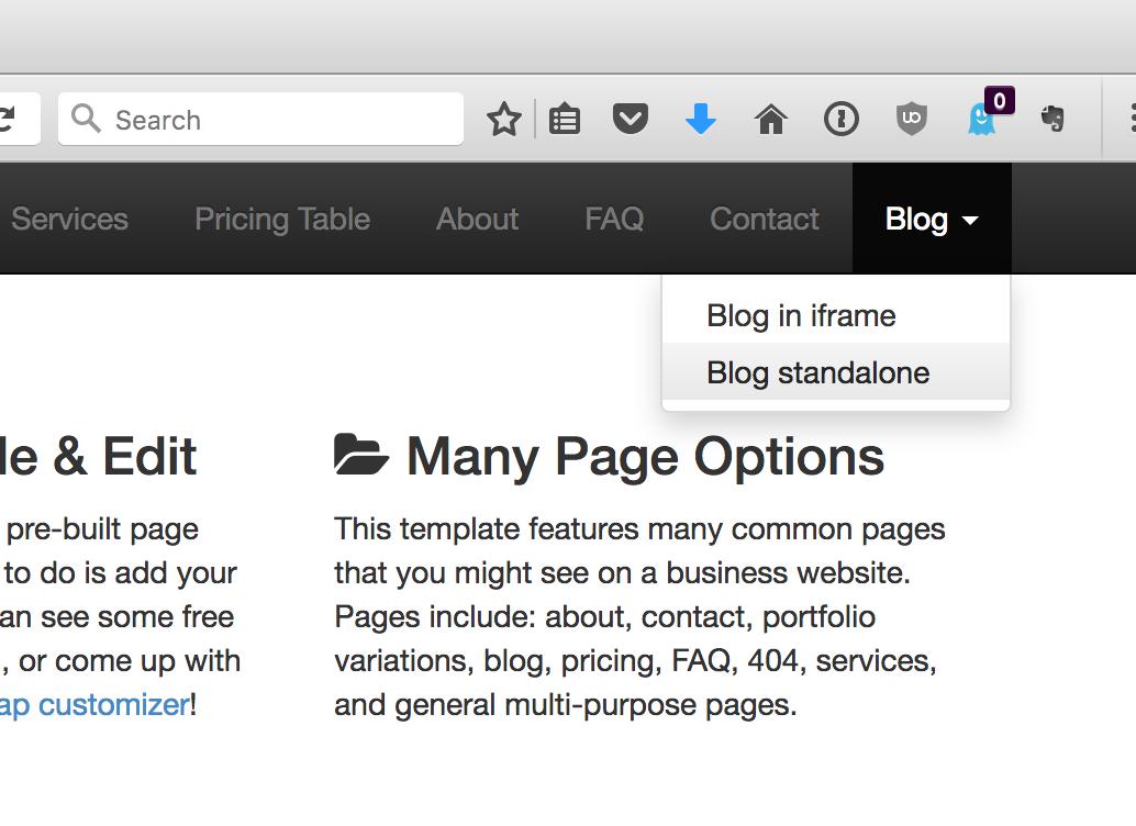 Blog menu